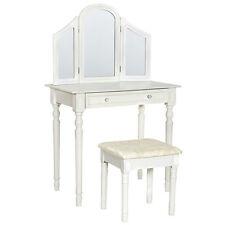 Coiffeuse blanche table de maquillage avec miroir et tabouret commode coiffeur