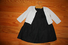 NWT GYMBOREE Girl Holiday Outfit black shimmer dress + silver cardigan 12-18 mo