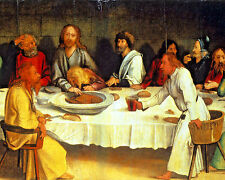 The Last Supper Jesus Christian Bible Painting Real Canvas Giclee Art Print