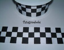 1M x 38mm BLACK/WHITE CHECKERED/CHEQUERED FLAG/RACING CAR GROSGRAIN RIBBON