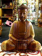 WOODEN Thai BUDDHA STATUE Figure MEDITATING Sitting PRAYING Hand Carved 30cm B