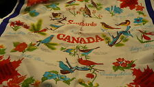 Song birds of Canada official flowers vintage scarf maple leaf Canadiana S86