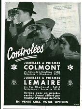 """Publicité Ancienne """"  Jumelles Colmont - Lemaire """" 1933 ( P. 36 )"""