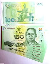 Thailand Thai 20 Baht Bank Note Uncirculated 2013 Showing both sides Late King