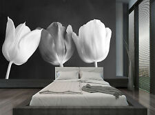 Black And White Tulips Flowers Wall Mural Photo Wallpaper GIANT WALL DECOR