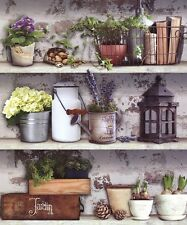 Muriva Potting Shed Wallpaper 102565 - Brick Wall Plants Shelves Flowers Basket
