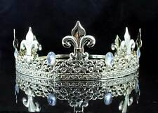 FULL KING'S GOLD METAL CROWN AUSTRIAN RHINESTONE CRYSTAL FLEUR-DE-LIS T11933G