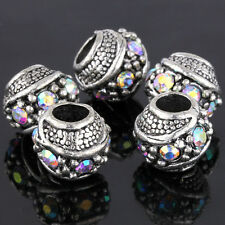 5Pcs Silver Rainbow Rhinestone Spacer Beads Fit European Bracelet Free Shipping
