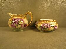 Limoges Antique Hand Painted Purple Floral Sugar and Creamer T&V France
