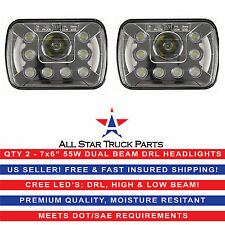 5x7 7x6 LED Headlights Replacement Jeep Toyota XJ YJ 4Runner (pair) DRL 55W