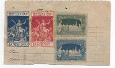 1897 Belgium Postcard with 4 poster Stamps from the Bruxelles Exposition