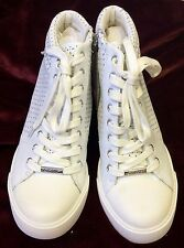 New DKNY Cindy Wedge Sneakers Women's Shoes White 8.5