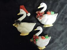 "Set of 3 Russ Adorabl ""Holly"" Goose Porcelain Figure Duck Christmas Collectible"