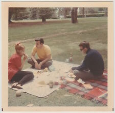Square Vintage 60s PHOTO Young People Pair Guys & Girl On Park Picnic Blanket