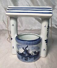 RARE Lovely Antique Delft Blue & White Wishing Well Figurine WINDMILL Floral NEW