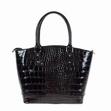 NWT Real leather woman handbag tote shoulderbag hobo.Made in Italy.Croco BROWN