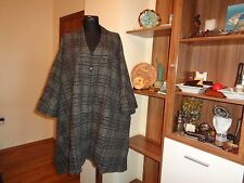 OSKA GRAPHITE GREY WOOL BLEND TWEED OVERSIZED BOXY CHECK CAPE COAT TOGA-ONE SI