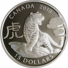 Canada 1 oz $15 Round Fine Silver Coin Lunar Zodiac Year of the Tiger  (2010)