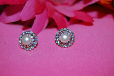 Freshwater Pearl Pierce Earrings with Dual Rings of Cubic Zirconia