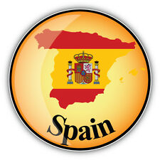 Spain Map Flag Glossy Label Car Bumper Sticker Decal 5'' x 5''