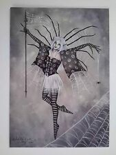 AMY BROWN NEW MINT FAIRY POSTCARD/MINI Spiderweb Dancer SPIDER WEB FAERIE silver