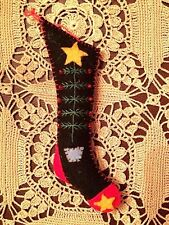 "CHRISTMAS ORNAMENT: HANDMADE ""HAND STITCHED""  FELTED WOOL 6"" STOCKING-XMAS TREE"