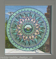 "CLR:WND - WATER Element Mandala -See-Through Vinyl Window Decal ©YYDC LG 7.5""dia"