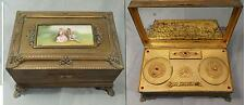 AUSTRIAN BRASS MAKEUP/POWDER MUSIC BOX,SIGNED MINIATURE PORTRAIT  W/ KEY