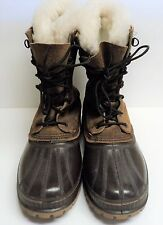 Sorel Steel Shank Boots Brown Leather Lace Up Mens Size 9 Fur Lined USA MADE