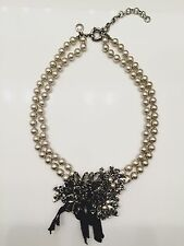 Vintage J Crew Double Strand Silver Pearl and Rhinestone Statement Necklace