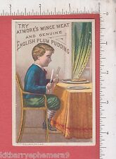 8611 Atmores Mince Meat trade card English Plum Pudding dessert boy knife & fork