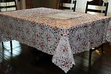 "72""x126"" Large Embroidered Tablecloth Camellia Floral Table Linen Home Decor,"