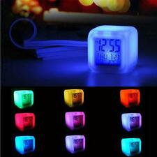 Fashion Digital Alarm Thermometer Night Light Glowing LED Clock Cube 7 Colors  B