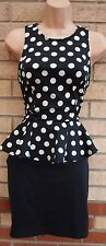 PRIMARK BLACK WHITE SPOTTY POLKA DOT PEPLUM TUBE BODYCON PARTY TEA DRESS 10 S