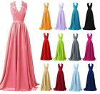 2016 Long Lace Formal Wedding Prom Ball Gown Bridesmaid Dress Stock Size 6-18