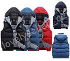 HOT Warm Hooded Waistcoat Men Winter Vest Sleeveless Cotton Down Zip Jacket Coat