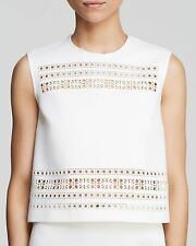 Clover Canyon $410 White Neoprene Laser Cut Crop Top. Medium EUC