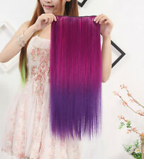"""24"""" Straight Synthetic Hair Piece 5 Clips Ombre Dip Dye Salon Clip In Extensions"""