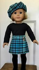"""18"""" Doll Clothes American Girl Handmade Set Skirt Beret Top Flannel Side Button"""