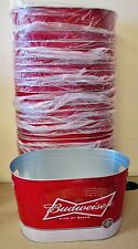 12x BUDWEISER Metal Oval Bottle Bar Bucket Holds Ice Beer Aluminum Tin Cans