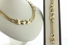 14K Italy Yellow Gold Double Mesh Strand & Swirl Necklace and Bracelet Set