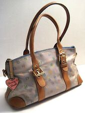 Dooney & Bourke Tan Leather Trim Hobo Satchel Bag Purse Handbag Tag Charm Authe