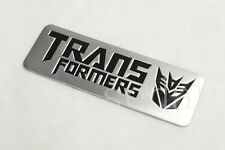 1PCS NEW ALUMINUM SILVERY TRANSFORMERS STICKER CAR SIDE BADGE DECORATION EMBLEM