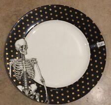 CIROA SKELETON DINNER PLATES SET OF 4 HALLOWEEN GOLD POLKA DOT
