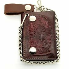 "Men Biker Chain Wallet Genuine Leather Brown/Red ""Virgin Guadalupe"" Tri Fold"