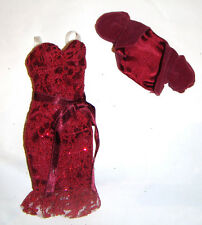 Barbie Fashion Deep Red Lace Dress/Bolero For Model Muse Dolls fn131
