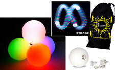 3x LED Glow Juggling Balls (Strobing Effect) Pro Glow Juggle Balls set of 3 +BAG