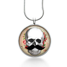 Skull with Mustache Necklace - Skeleton Jewelry - Handmade - Art Pendant