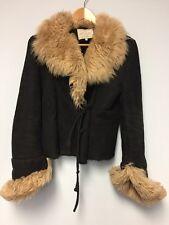 LAVORAZIONE ARTIGIANA  Shearling BLACK Suede Women's Coat Made in Italy SIZE 42