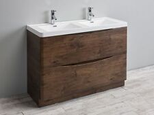 "EVIVA 48"" SMILE DOUBLE SINK MODERN BATHROOM VANITY IN ROSEWOOD FINISH"